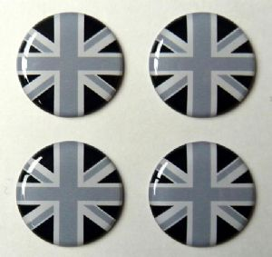 3D GEL sticker  SET of 4 'Union Jack Monochrome'  Size approx 21.5 mm